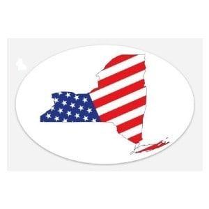 american flag new york state sticker 2