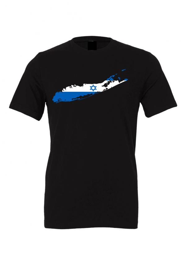 israeli flag long island black t shirt 2