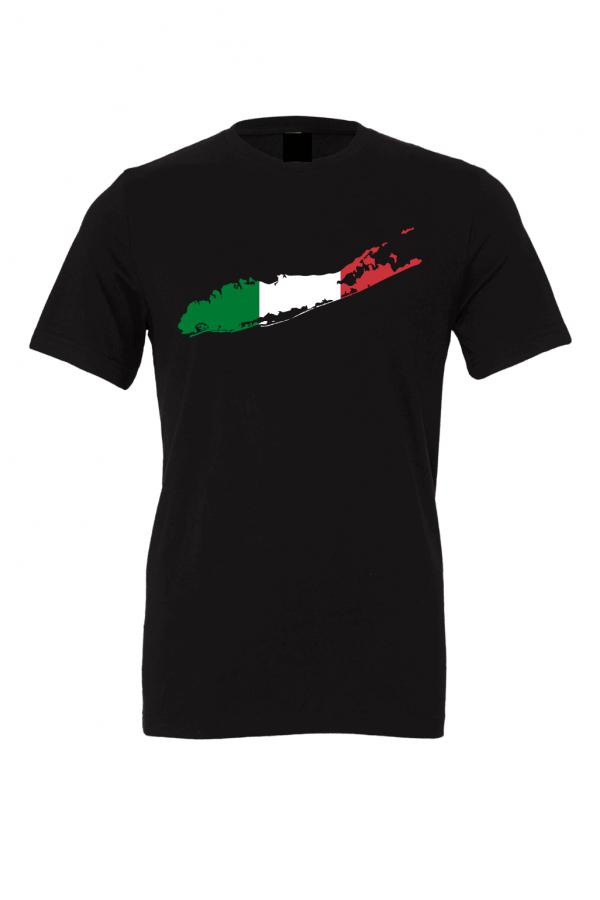 italian flag long island black t shirt 2