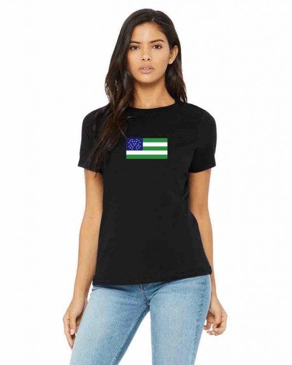 nypd flag womens black t shirt 1