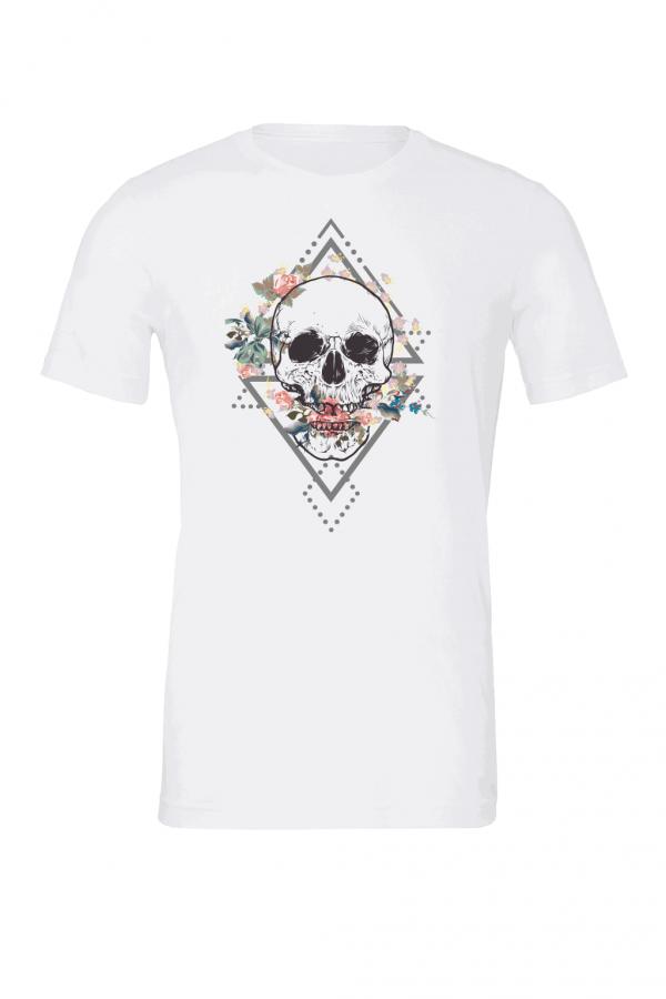 skull flower t shirt white 3