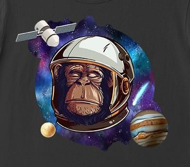 space monkey astronaut chimp t shirt 2